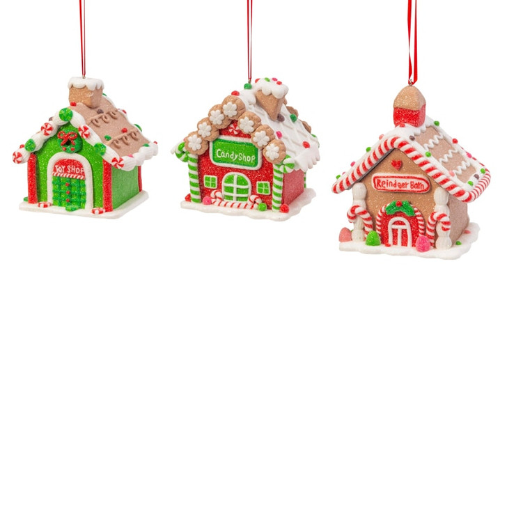 """4"""" Red and Green Claydough Gingerbread House Christmas Ornament 2544940"""