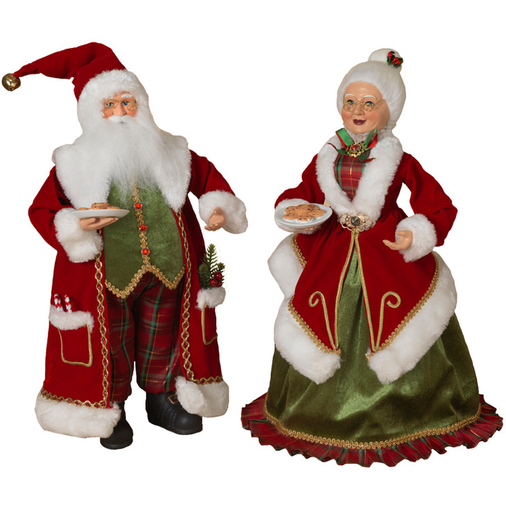 """18"""" Set of Mr. and Mrs. Claus Christmas Figures 2549590"""
