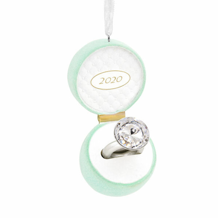 "Hallmark 3.88"" Tiffany Blue Engagement Ring 2020 Dated Christmas Ornament 1HGO2030"