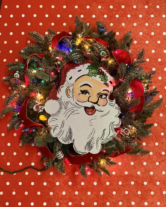 Håndlavet Vintage Inspireret julelys krans m / skinnende brite ornamenter