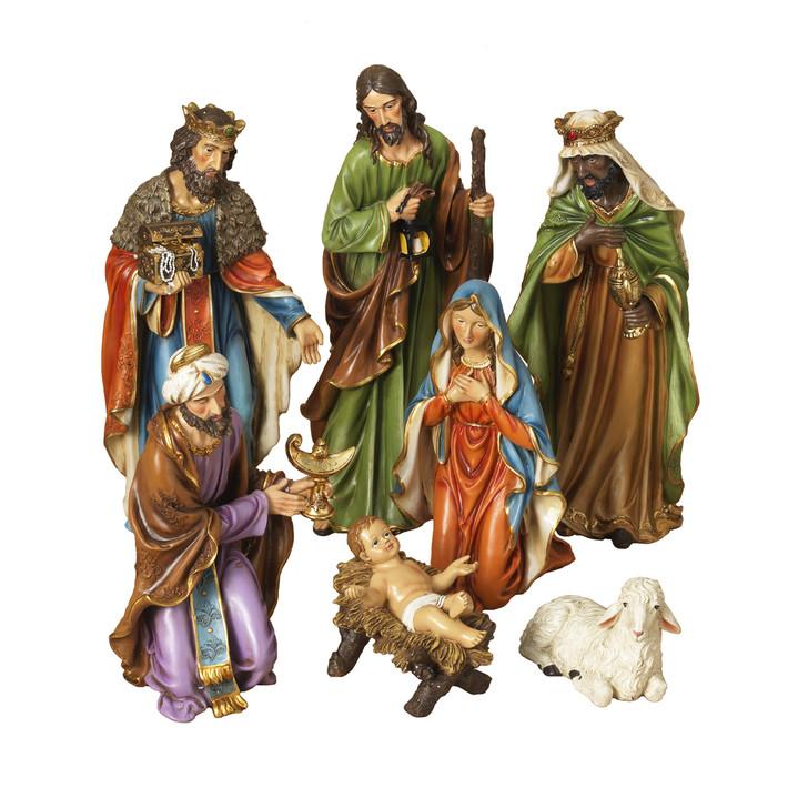 Set of 7 Resin Nativity Scene Christmas Figures 2421130