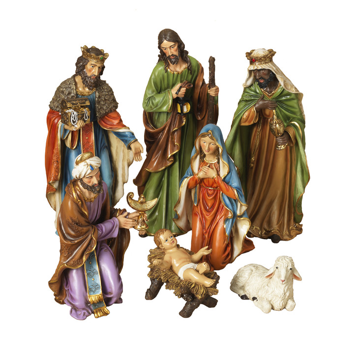 Set of 7 Resin Nativity Scene Christmas Figures 2421130