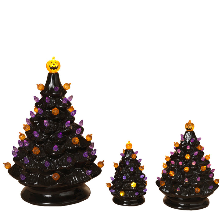 Battery Operated Lighted Halloween Ceramic Trees with Sound 2551760