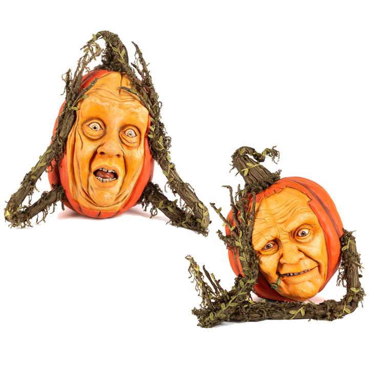 Katherine's Collection Midnight Pumpkin with Face Halloween Figure
