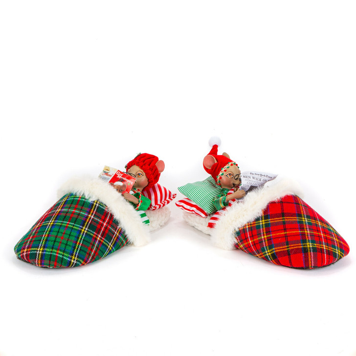 "Katherine's Collection 11.5"" Mouse In Slipper Christmas Decoration 28-028762"