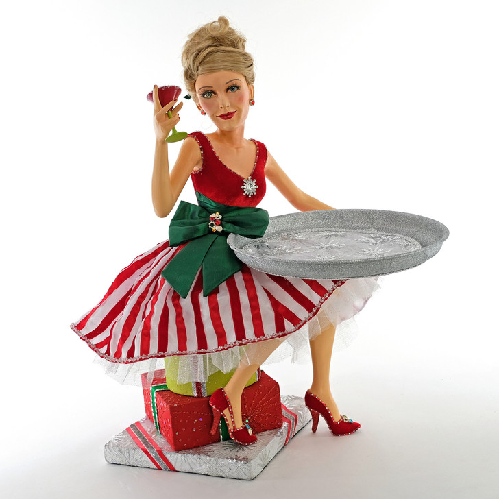 Katherine's Collection Lady Sitting on Presents with Tray Christmas Figure 28-928487