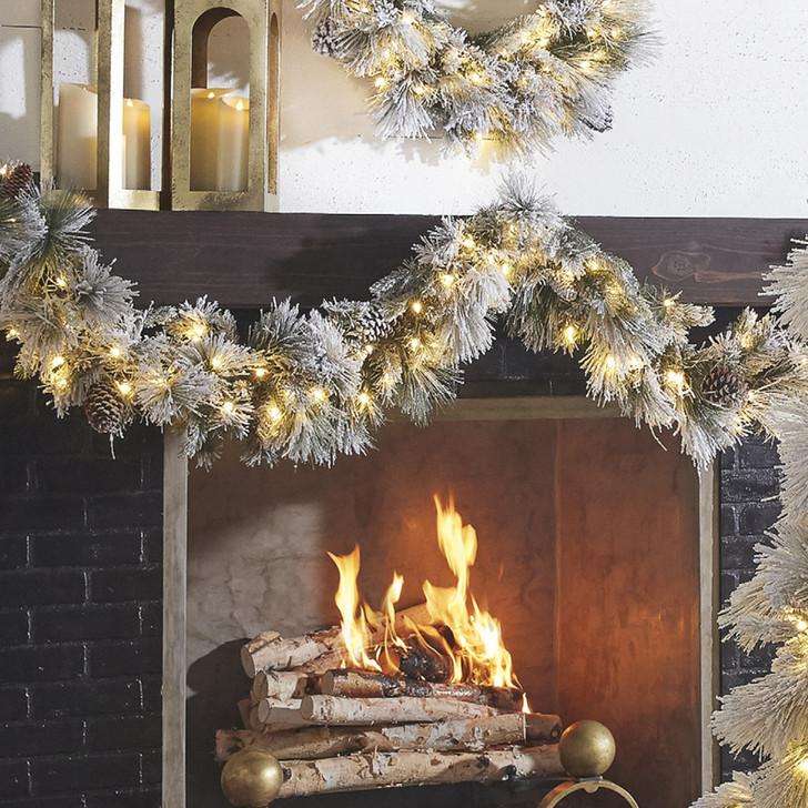 Raz 9' Pre-Lit Flocked Pine Christmas Garland w/ Clear Lights G4052018