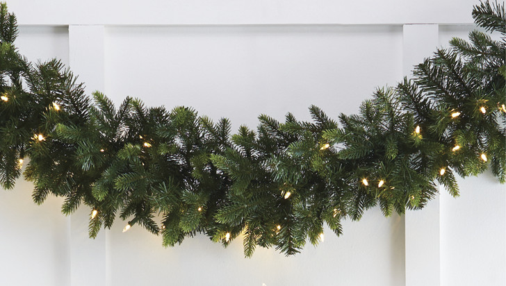 Raz 9' Pre-Lit Green Mixed Spruce Christmas Garland With Warm White Lights G4052021