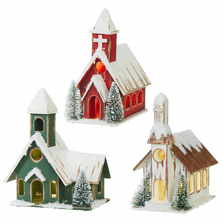 "Raz 8"" Battery Operated Lighted Wooden Christmas House 3915555"