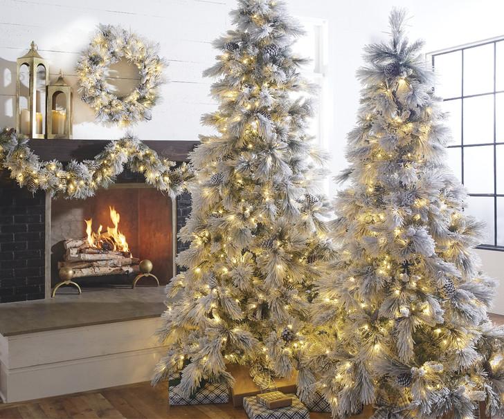 Raz 7.5' Pre Lit Flocked Pine Christmas Tree T4052002