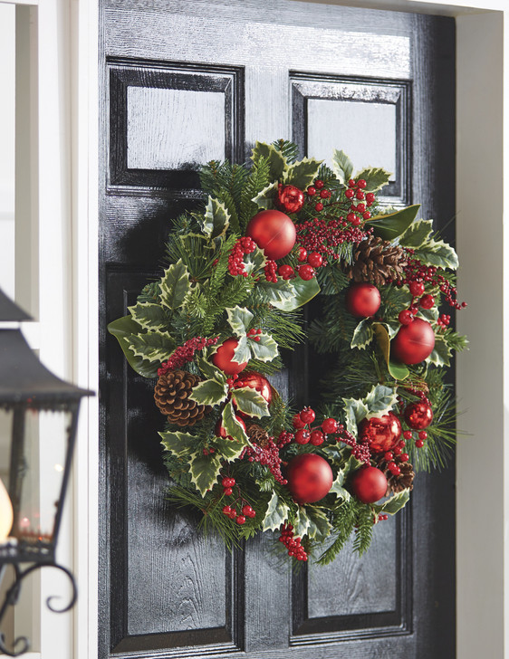"Raz 26 ""Red Holly and Pine Cones Christmas Wreath W4002266"