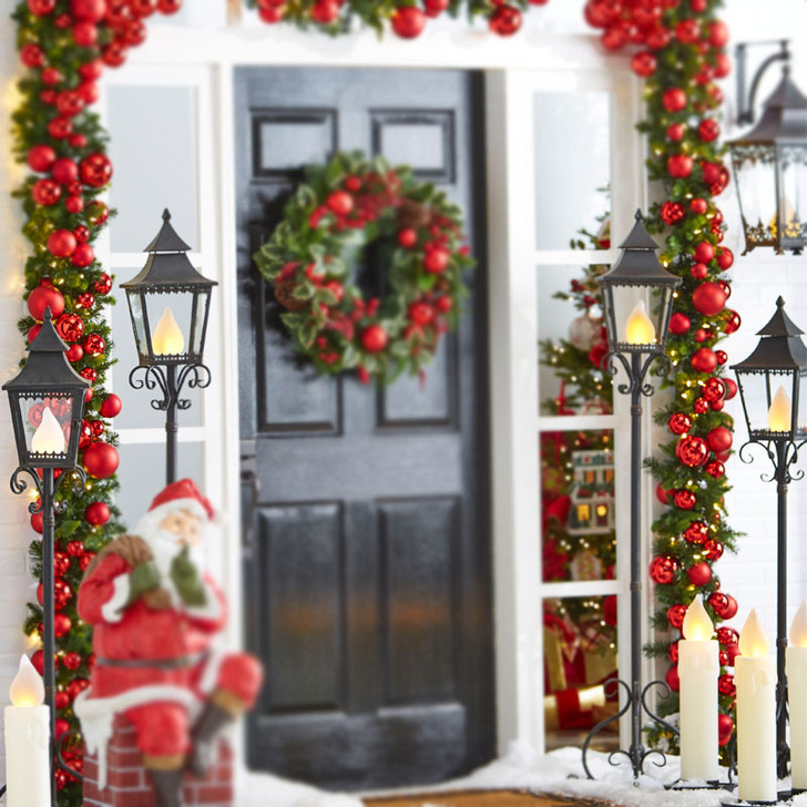"""Raz Metal Standing Christmas Lamp Post With Flicker Flame Light And  Remote  55"""" or 65"""""""
