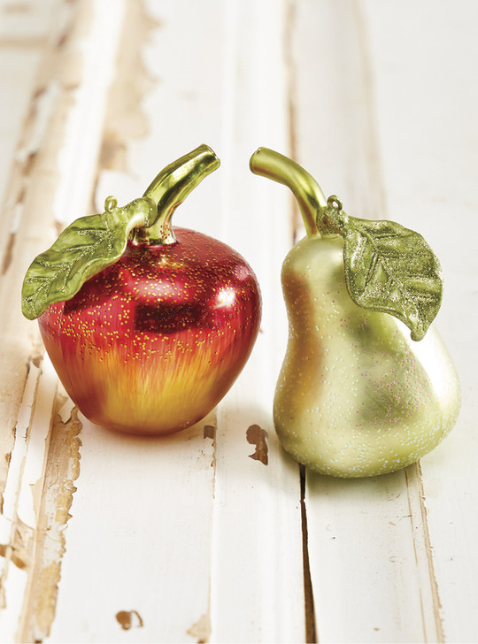 "Raz 4.5"" Metallic Apple or Pear Glass Christmas Ornament 4019099"