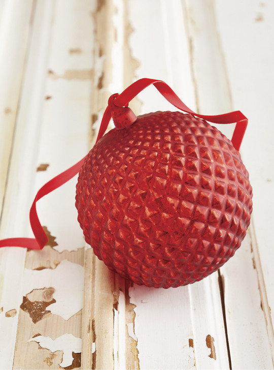 """Raz 6"""" Red Quilted Mercury Glass Ball Christmas Ornament 4022831"""