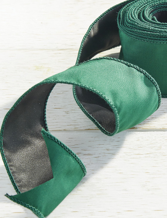 "Raz 2.5"" Emerald Green Wired Christmas Ribbon R4027799"