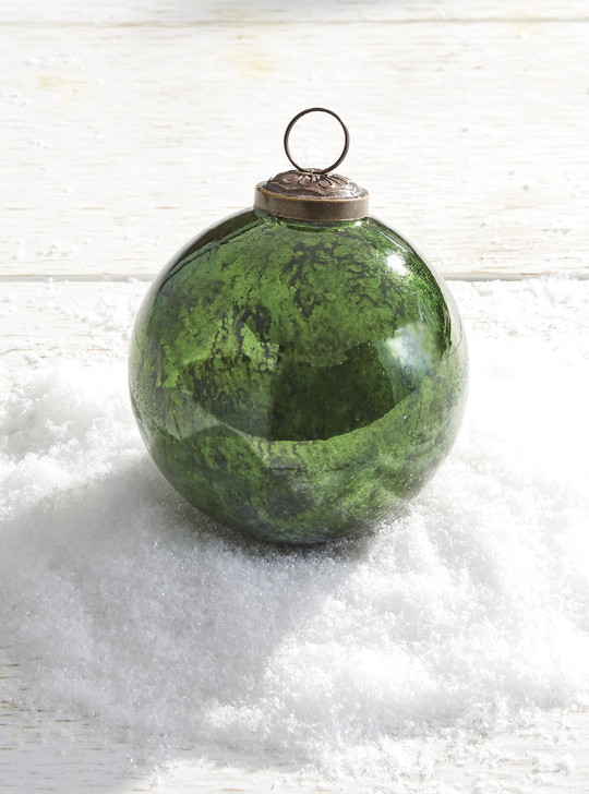 "Raz 3.75"" Antiqued Green Glass Ball Christmas Ornament 4038310"