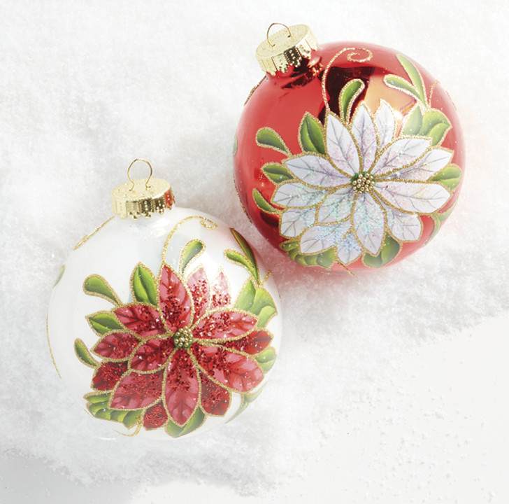 "Raz 4"" Glittered Poinsettia Glass Ball Christmas Ornament 4052941"