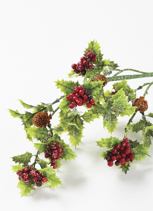 "Raz 25"" Holly Berry Plastic Christmas Tree Spray F4060876"