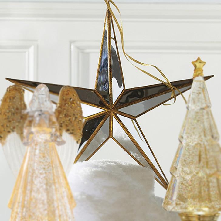 "Raz 15"" Gold Mirrored Star Christmas Ornament 4016149"