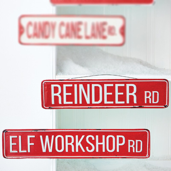 Raz Metal Workshop Street Sign Christmas Decoration 4012365