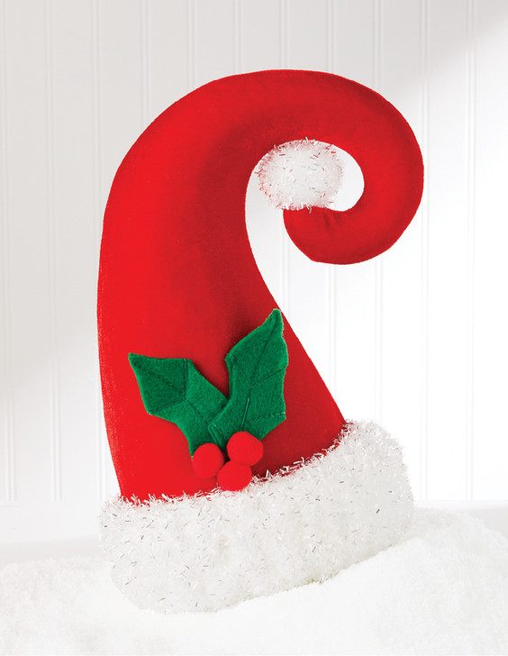 """Raz 12.75"""" Red and Tinsel Santa Claus Hat Christmas Figure 4019033"""