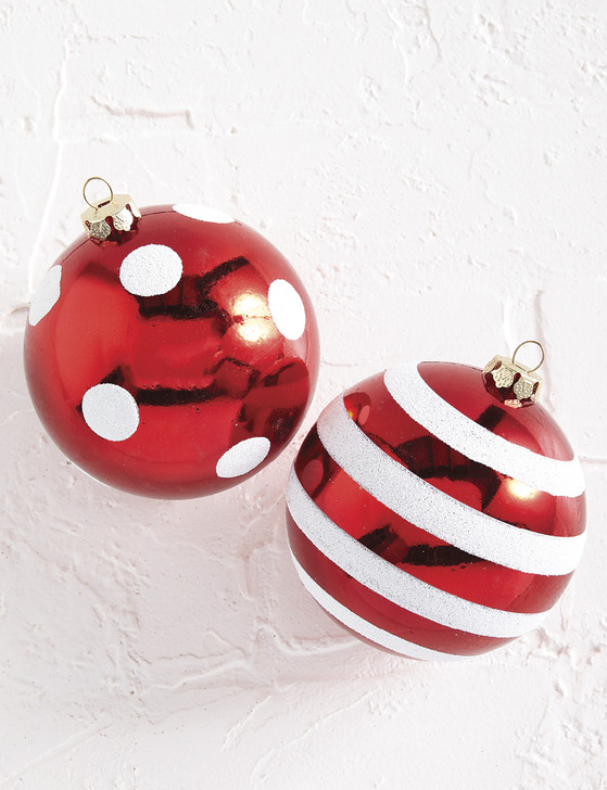 "Raz 4"" Red Dotted or Striped Glass Christmas Ball Ornament 4002254"