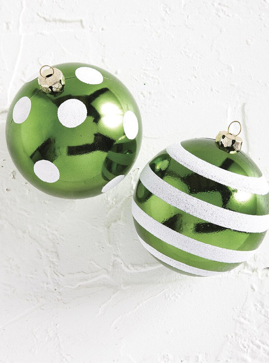 "Raz 4"" Green Dotted or Striped Glass Ball Christmas Ornament 4002255"