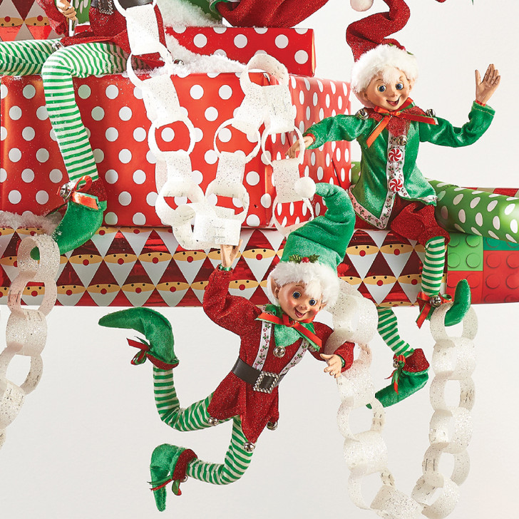 """Raz 16"""" Red and Green Peppermint Candy Posable Elf Christmas Figure"""