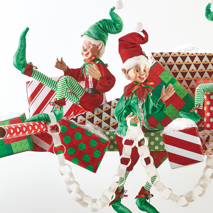 """Raz 30"""" Red and Green Candy Posable Elf Christmas Figure 4002398"""