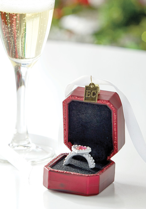 """Raz 3"""" Red Marry Me Engagement Ring Glass Christmas Ornament 4053124"""