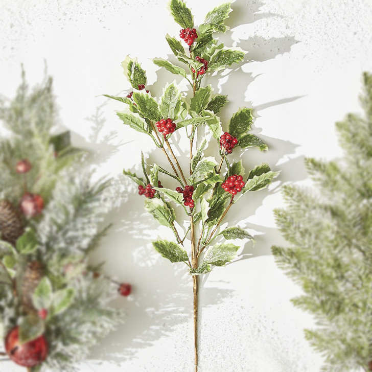 "Raz 32"" Iced Holly Christmas Tree Spray F4006662"