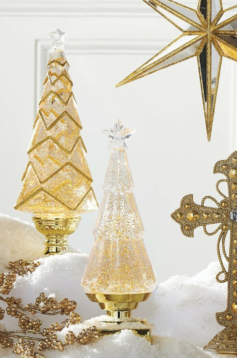 """Raz 11.75"""" or 14""""  Lighted Christmas Water Globe Tree with Gold Glitter"""
