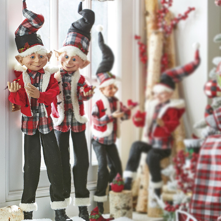 "Raz 30"" Black and Red Posable Elf Holding Cardinal Christmas Figures 4002321"