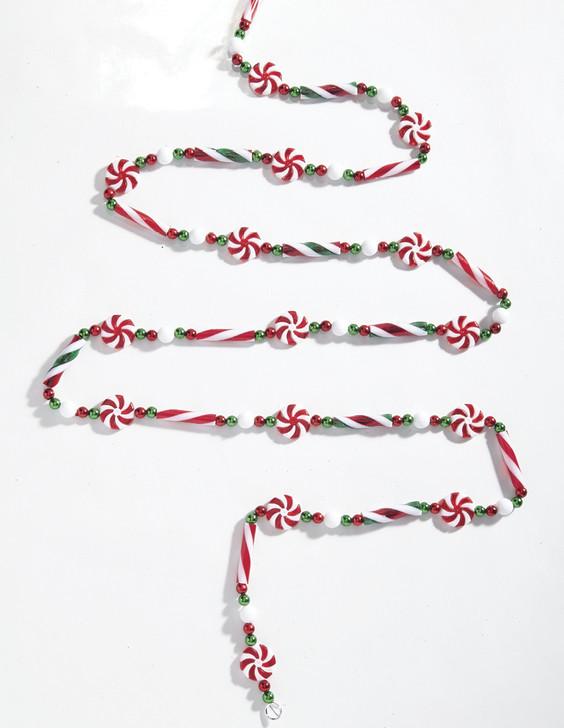 Raz 6' Beaded Peppermint Christmas Tree Garland G4014104