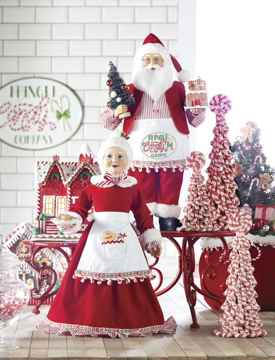 Raz Set of 2 Mr and Mrs Claus Kringle Candy Company Christmas Figure