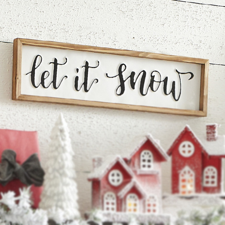 "Raz 26"" Metal Let It Snow Framed Christmas Sign 4036346"
