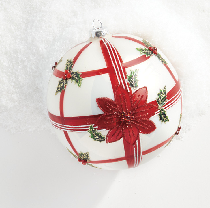 "Raz 6"" Plaid Poinsettia Glass Ball Christmas Ornament 4022839"
