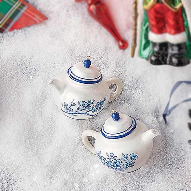 "Raz 4"" White and Blue Delft Teapot Glass Christmas Ornament 3952970"