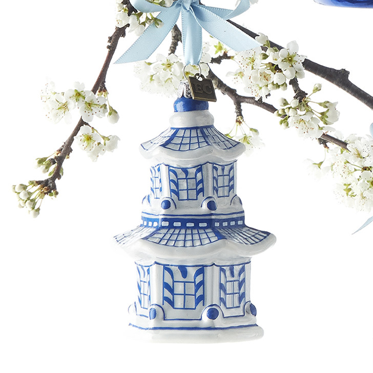 "Raz 4,25 ""Pagoda Delft Glass Christmas Ornament 3953018"