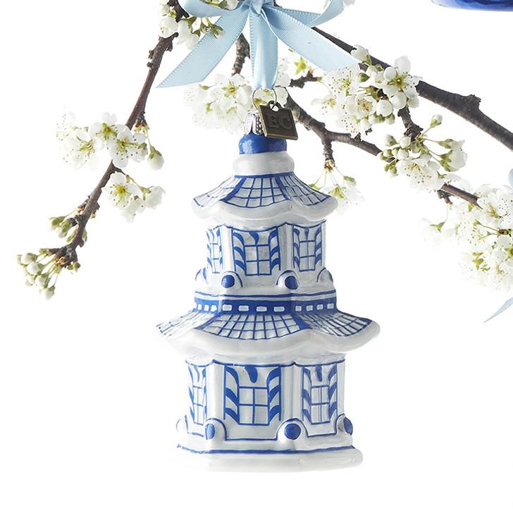 "Raz 4.25"" Pagoda Delft Glass Christmas Ornament 3953018"