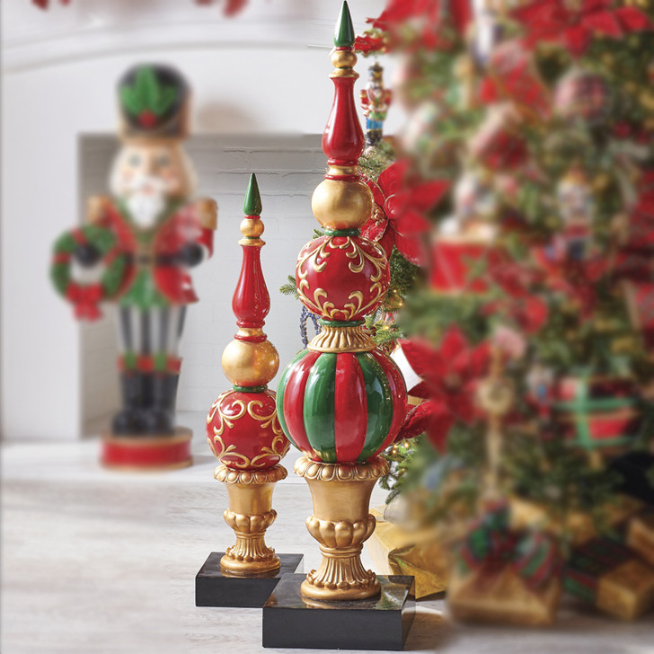 "Raz 35"" or 49"" Red and Gold Finial Christmas Figure"
