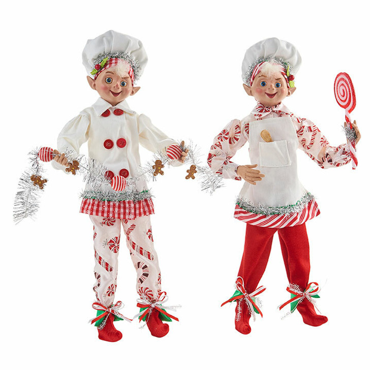"Raz 16 ""Red and White Candy Baker Elf Christmas Figure 4002228 -2"