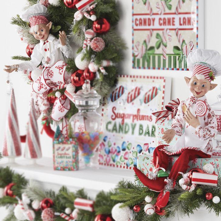 "Raz 30"" Red and White Candy Baker Elf Christmas Figure 4002400"