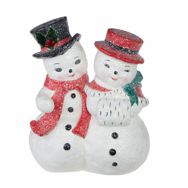 "Raz 8.25"" Vintage Mr. and Mrs. Snowman Christmas Figure 4002496"