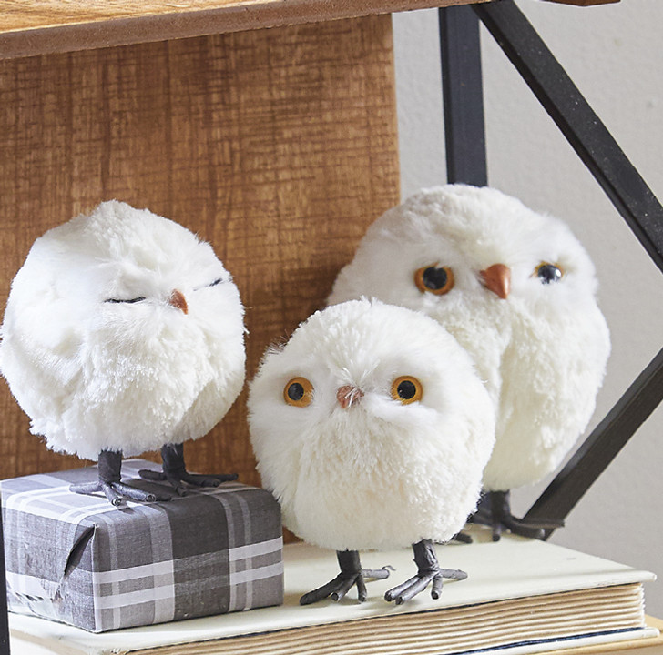 "Raz 4"" White Furry Owl Christmas Ornament 4003421"