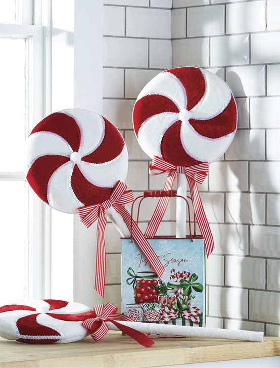 "Raz 18"" or 26"" Red and White Lollipop Christmas Pick"