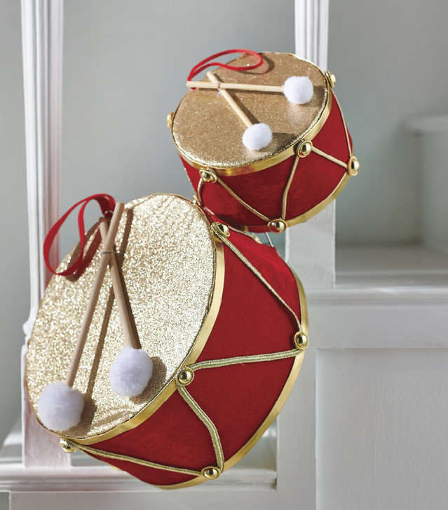 """Raz 4.5"""", 6.5"""", or 10.5"""" Red and Gold Drum Christmas Ornament"""