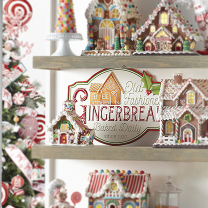 "Raz 18"" Metal Old Fashioned Gingerbread Christmas Sign 4012337"