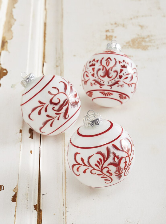 "Raz 4"" Red and White Delft Scroll Glass Ball Christmas Ornament 4012500"