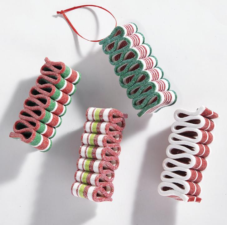 "Raz 4"" Claydough Multicolor Ribbon Candy Christmas Ornament 4014103"